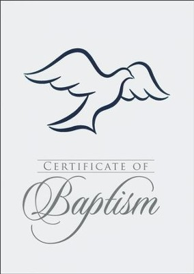 Dove (Romans 6:3-4) Baptism Folded Certificate with  Envelopes (pkg. of 6)   -