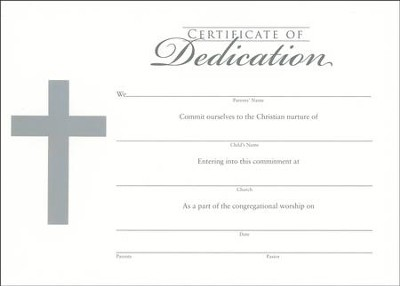 Embossed Cross--Flat Dedication Certificate/6           -