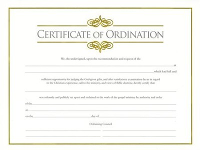 Minister's Ordination Certificate (pkg. of 6)  -