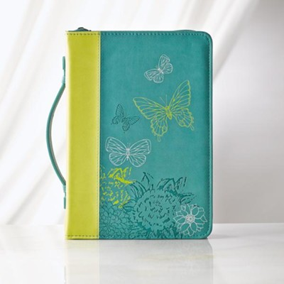 Butterflies Bible Cover, Blue, Large  -