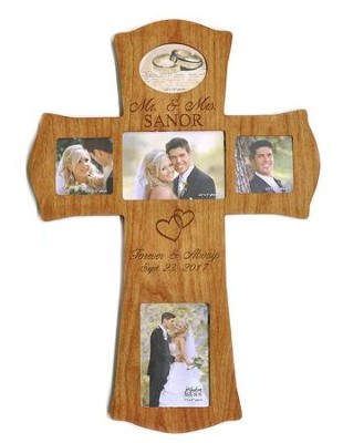 Personalized, Mr and Mrs Photo Cross, Large, Cherry   -