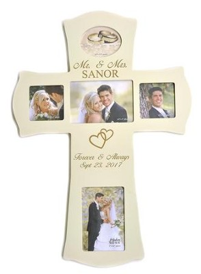 Personalized, Mr and Mrs Photo Cross, Large, White   -