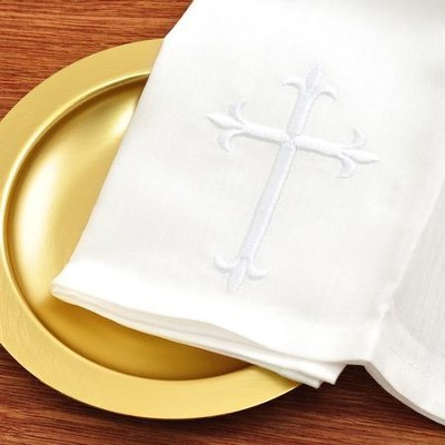Bread Plate Napkin, 100% Linen with Latin Cross   -
