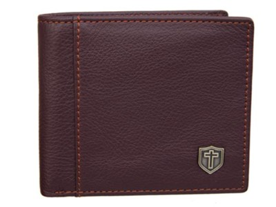 Shield and Cross, Leather Wallet, Brown  -