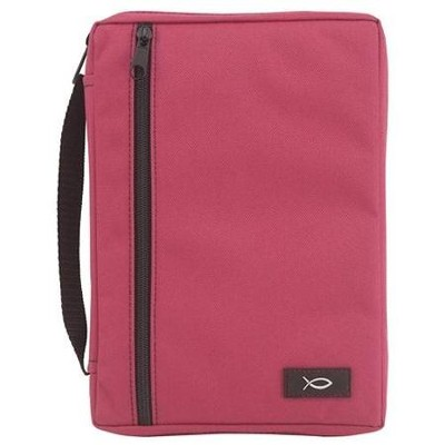 Canvas Bible Cover, Solid Fuchsia, Extra Large   -