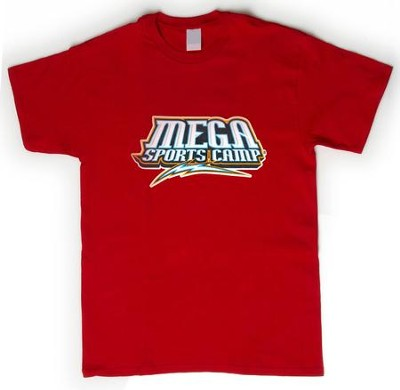 MEGA Sports Camp T-Shirt, Youth Small (6-8), red   -