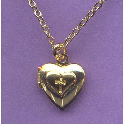 Child's Heart Locket with Debossed Cross   -