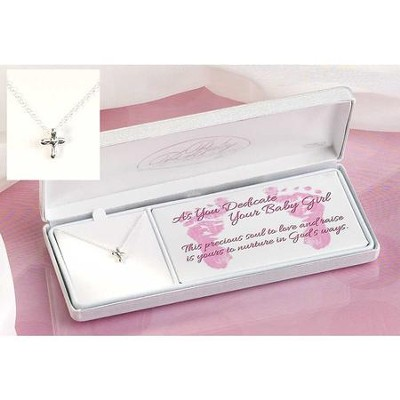 Baby Dedication Petal Cross Necklace  -