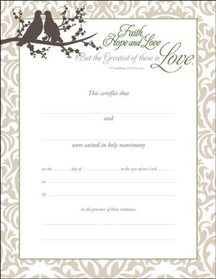 Marriage Certificates (1 Corinthians 13:13, NIV) 6  -
