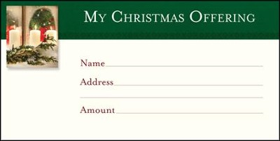 Christmas Candles Offering Envelopes, 100  -