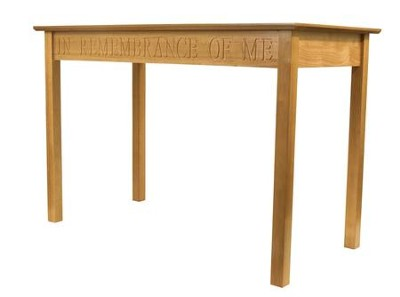 In Remembrance of Me Communion Table, Pecan Finish   -