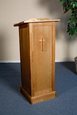 Full Lectern with Shelf, Hardwood Maple with Pecan Finish  -