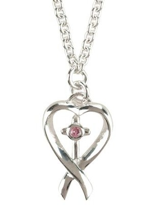 Breast Cancer Awareness Bracelet, Heart with Cross, Sterling Silver  -