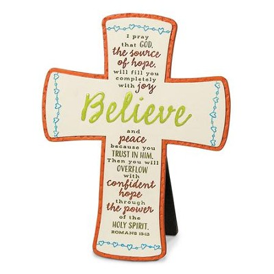 Believe, Cast Stone Cross  -