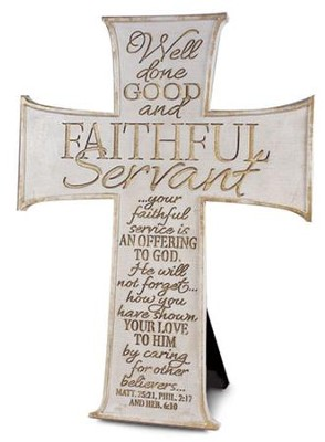 Faithful Servant Cross, White  -