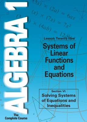 Algebra 1 - The Complete Course: Systems of Linear Functions and Equations DVD  -