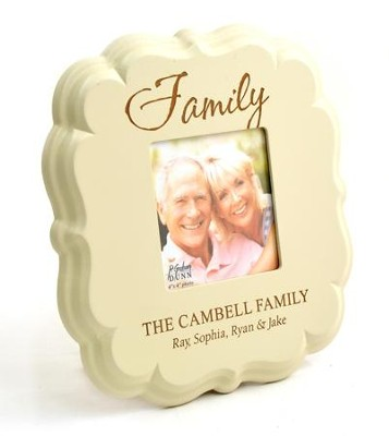 Personalized, Family 4X4 Photo Frame, White   -