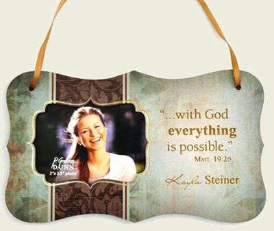 Personalized, With God Everything Is Possible, Hanging Photo Plaque, Green  -