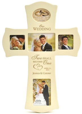 Personalized, Wedding, Photo Cross, White   -