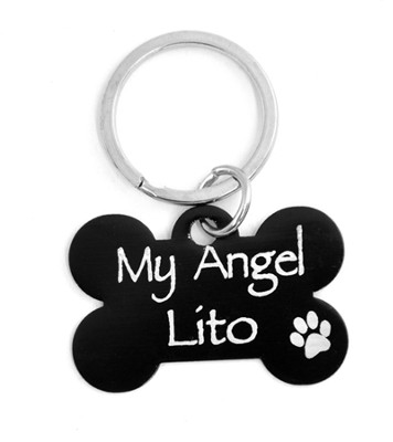 Personalized, Dog Tag, My Angel, Black    -