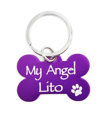 Personalized, Dog Tag, My Angel, Purple Keyring  -