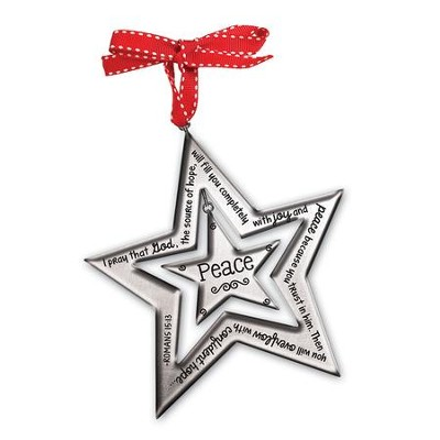 Peace Silver Star Ornament      -
