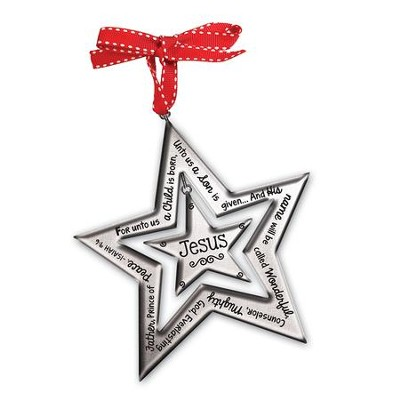 Believe Silver Star Ornament   -