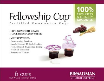 Fellowship Cup Prefilled Communion Cups, Box of 6  -