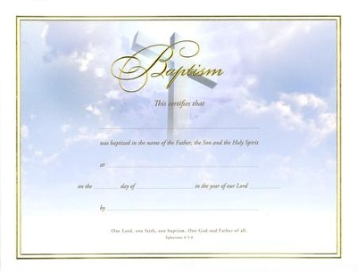 Baptism Certificates (Ephesians 4:5-6) Pack of 6  -
