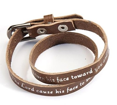 Brown Leather Bracelet: Aaron's Blessing  -
