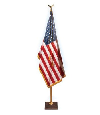 Aluminum Flag Pole with 3-Step Walnut Base (Eagle Topper),  991⁄8 High  -