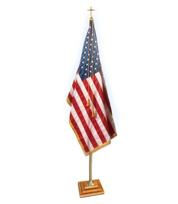 Brass Flag Pole with 3-Step Oak Base (Cross Topper),  100¼ High  -
