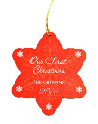 Personalized, Our First Christmas, Snowflake Ornament   -