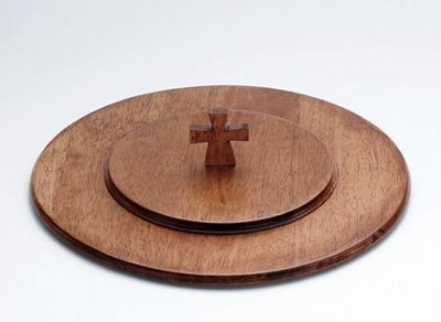 Antique Maple Finish Wood Communion Tray Lid with Cross   -
