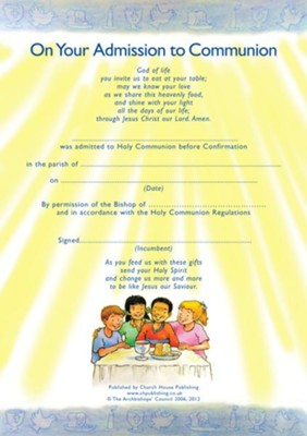 Admission to Communion Certificates  -     By: Church House Publishing