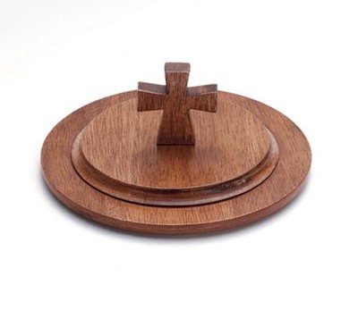 Antique Maple Finish Wood Stacking Bread Plate Lid  -
