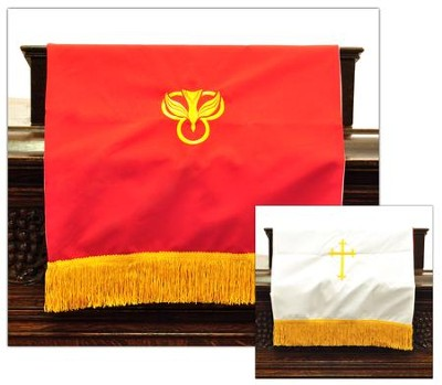 Pulpit Scarf with Cross, Red / White    -