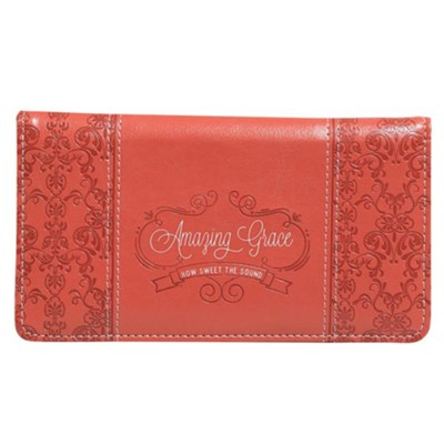 Amazing Grace Checkbook Cover, Coral  -
