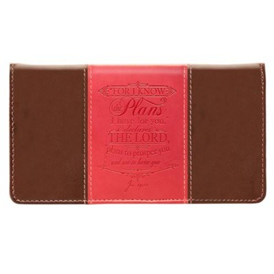 For I Know the Plans Checkbook Cover, Brown and Pink  -