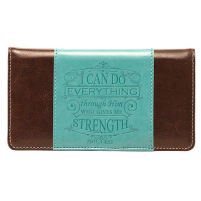 I Can Do Everything Checkbook Cover, Brown and Teal  -