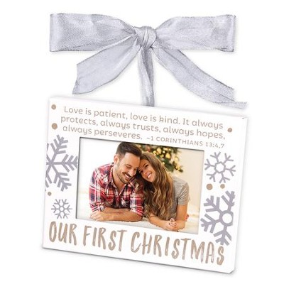 Our First Christmas, Photo Frame Ornament, White  -
