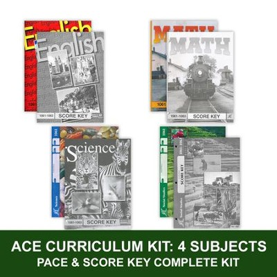 ACE Core Curriculum (4 Subjects), Single Student Complete PACE & Score Key Kit, Grade 5, 3rd Edition (with 4th Edition Social Studies)  -