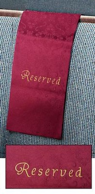 Embroidered Jacquard Pew Reserve Cloth, Burgundy, Set of 4   -