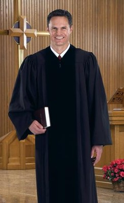 Black Pulpit Robe with Velvet Panel, 55 In.  -