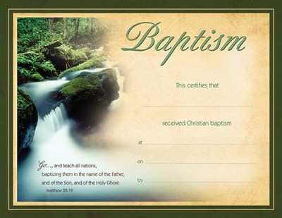 Baptism CertificateFlowing Water Matthew