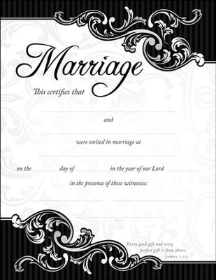 Marriage Certificate/Scroll Border (James 1:17) 6  -
