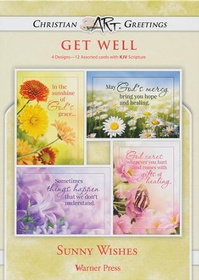 Sunny Wishes, Box of 12 Assorted Get Well Cards  -
