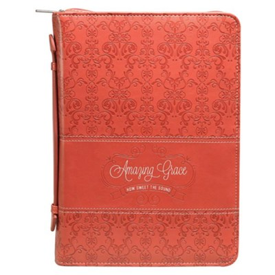 Amazing Grace Bible Cover, Lux-Leather, Coral, Large  -