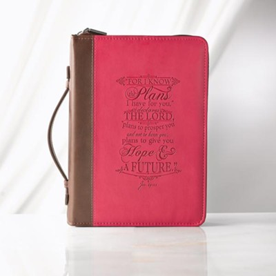 For I Know the Plans Bible Cover, Lux-Leather, Pink, Large  -