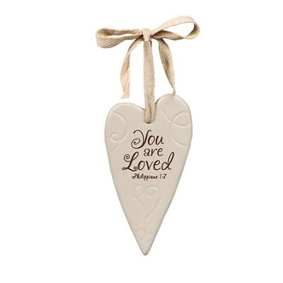 You Are Loved Ceramic Heart Ornament  -